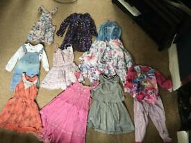 Bundle of girls dresses dungarees, pyjamas and tunics age 5 to 6