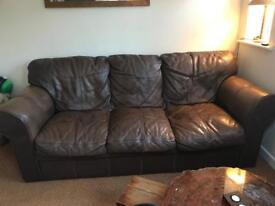 3 seater sofa with armchair and footstool in buffalo leather