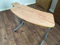 Large curved overbed adjustable table