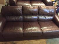 Brown leather sofa and chair SOLD