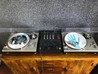 Technics SL1200 Turntables, Pioneer DJM 500 Mixer, Headphones, Cartridges and Stylus and all Cables