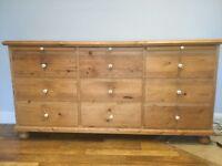 Pine 9 drawer linen chest