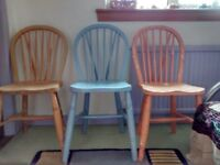 3 sturdy beech kitchen chairs for upcycling
