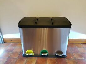 KITCHEN BIN - 45 LITRE STAINLESS STEEL 3 COMPARTMENT RECYCLYING PEDAL BIN