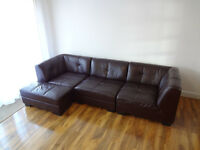 Leather 4-seater sofa. Modular. Will sell individual units. DFS. Dark red wine (Merlot)