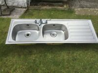 INSET DOUBLE SINK UNIT WITH MIXER TAPS