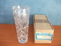 CZECHOSLOVAKIAN LEAD CRYSTAL GLASS VASE, BOXED