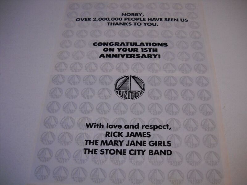 RICK JAMES Mary Jane Girls STONE CITY BAND congrats NORBY 1983 Promo Poster Ad