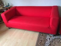 Lovely Modern Red Fabric 3 Seater Sofa. Excellent Condition with normal marks. For Pickup