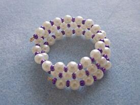 Handcrafted Acrylic Pearl Glass Seed Beads Twist Bracelet Metallic Purple