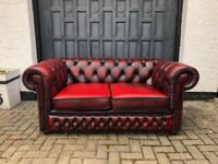 Stunning Oxblood Red Leather Chesterfield Sofa