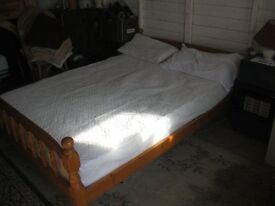 "MODERN SOLID PINE DOUBLE BED - 4'6"". ORNATE HEADBOARD & FOOTBOARD + MATTRESS & COVER. DELIVERY POSS"