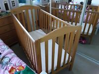 Childs cot and mattress. Used 3 times. Pristine condition.