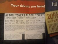 2 Alton Towers Tickets 17th October - 17/10/16