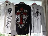 mens. clothing over 35 items,named jeans,embroidered shirts, suits and more.Good condition