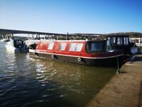 34ft widebeam canal boat for sale with residential mooring