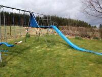 TP triple giant metal swing and slide set