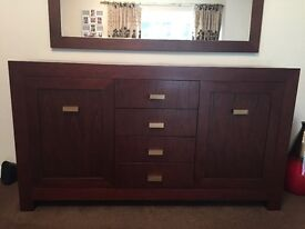 Large mirror and side cabinet