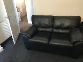 Leather 2-Seater Sofa in Dark Blue