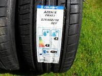 2 x brand new falken azenis 225 40 18 tyres, STILL FOR SALE TODAY, kingsmuir FORFAR