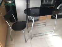 Breakfast glass dining table / desk and chair
