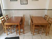 X2 kitchen tables with x8 matching chairs