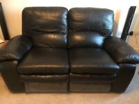 Black leather electric recliner sofa and armchair with leather cleaning kit
