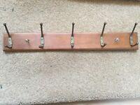 Wooden bracket & 5 coat hooks