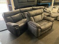 NEW EX DISPLAY LAZYBOY PAVILION GREY VELVET 4 SEATER CURVED RECLINER SOFA+ XL LOVE CHAIR, 70%Off RRP