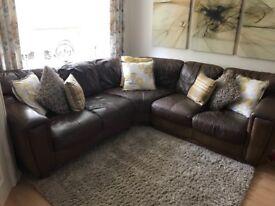 5 seater brown leather corner sofa