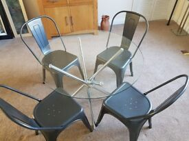 Glass Round Table & 4 x Grey Hammered Chairs