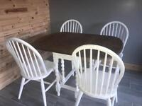Oak barley twist table and 4 chairs
