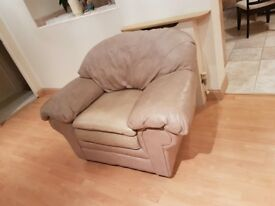 American Beige Leather Armchair - Great Condition!