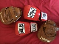 Boxing Set - Red Leather Everlast Gloves and Brown Leather Lonsdale Pads
