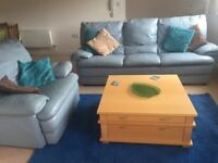 Blue 3 seater leather sofa and chair