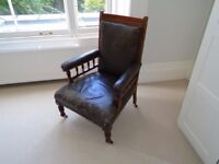 Antique, Distressed, Leather and Mahogany armchair