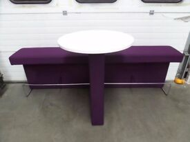 ORANGEBOX BREAK OUT AREA SEATING WITH ATTACHED ROUND TABLE & CHROME FOOT BAR