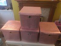 4 Pink Glitter Storage Boxes