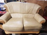 Cream two Seater Leather Sofa FREE MANCHESTER DELIVERY
