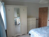 Matching wardrobe, chest of drawers, desk and bedside cabinet