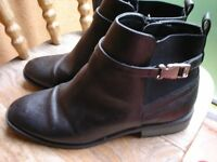 Black leather buckle boots----marks & spencer