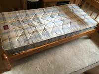 Solid pine single bed with new mattress