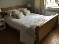 M&S corner sofa also King size wooden sleigh bed