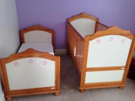 Two wooden cot beds, hand painted. Together or separate.