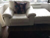 2 x 3 seater sofa 1x single leather sofa and 1 leather foot stool