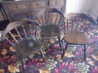 3 - Dark Wood Vintage Chairs