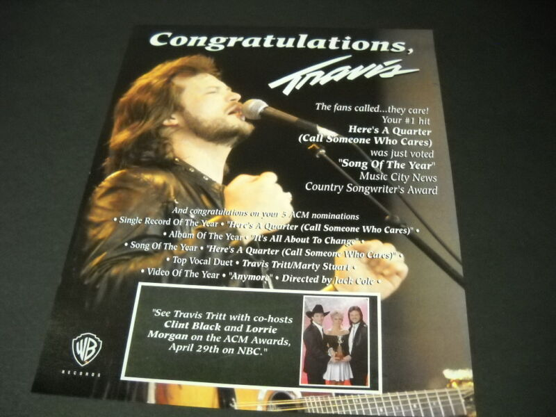 TRAVIS TRITT the fans called...they care! 1992 PROMO POSTER AD mint condition