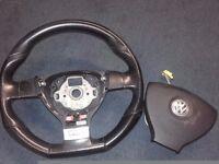 VW Golf MK5 V GT DSG Flat Bottom D Steering Wheel With Airbag