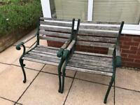 Two Metal Wood Patio Chairs