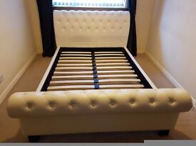 Double Cream Faux Leather Sleigh Bed